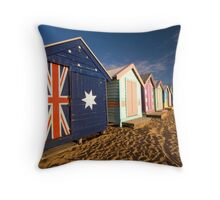 Brighton Beach Huts Throw Pillow