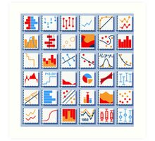 Stats Element Set in Various Colors Art Print