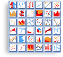Stats Element Set in Various Colors Canvas Print