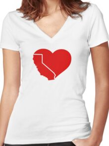 I Love California Heart Women's Fitted V-Neck T-Shirt