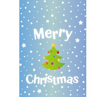 Merry Christmas blue background card with green tree Photographic Print