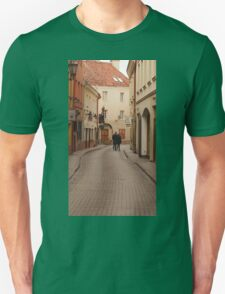 Man and woman  in love passes an empty street. Unisex T-Shirt