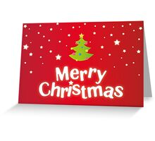 Merry Christmas red background card with green tree Greeting Card