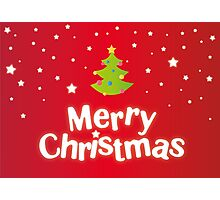 Merry Christmas red background card with green tree Photographic Print