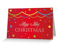 Merry Christmas red background card with colorful balls, decoration Greeting Card