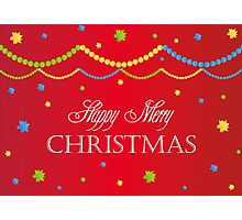 Merry Christmas red background card with colorful balls, decoration Photographic Print