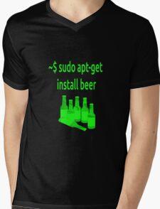 Linux sudo apt-get install beer Mens V-Neck T-Shirt