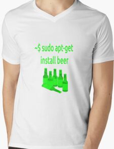 Linux sudo apt-get install beer Mens V-Neck T-Shirt