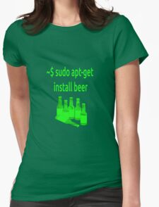 Linux sudo apt-get install beer Womens Fitted T-Shirt