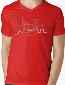 London Underground Pixel Map Mens V-Neck T-Shirt