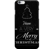 Merry Christmas typography card with scratched background  iPhone Case/Skin