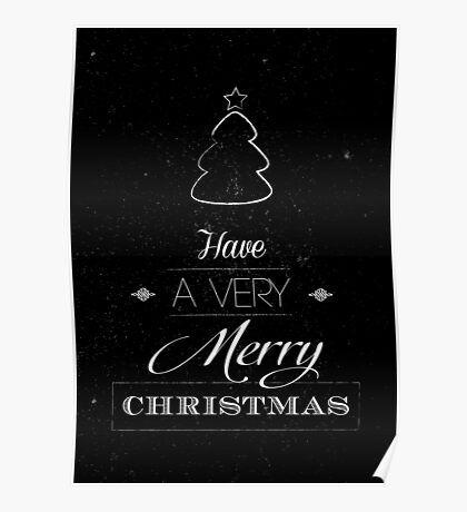 Merry Christmas typography card with scratched background  Poster