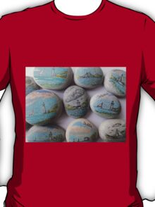 Pebbles from the beach with seascape T-Shirt