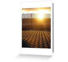 Fence creating sunlit stripes Greeting Card