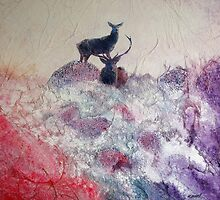 Red Deer in winter by Kevin Sean O'Connell