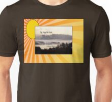 foggy sunrise, Columbia River, Oregon, Haiku sunny background Unisex T-Shirt