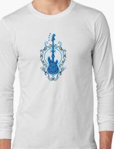 Intricate Blue and Black Bass Guitar Design Long Sleeve T-Shirt