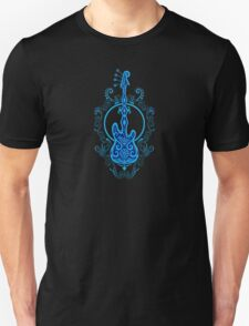 Intricate Blue and Black Bass Guitar Design Unisex T-Shirt