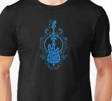 Intricate Blue and Black Bass Guitar Design Unisex T-Shirt