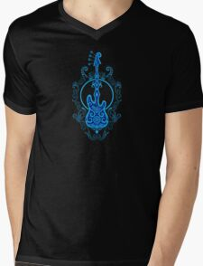 Intricate Blue and Black Bass Guitar Design Mens V-Neck T-Shirt