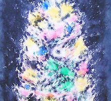 Glowing, Pastel-Colored Lights Christmas Tree Card by igelart77