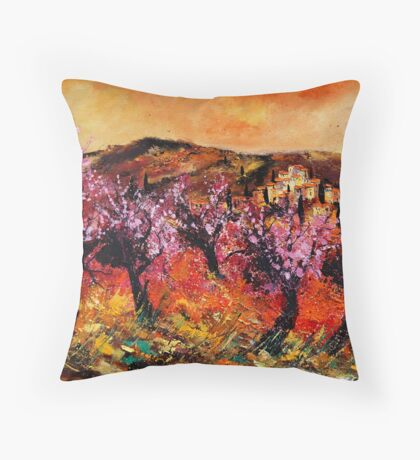 Blooming cherrytrees Throw Pillow