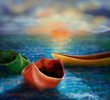 Three Boats by Janet Boyd Art