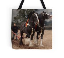 Horse ploughing  Tote Bag