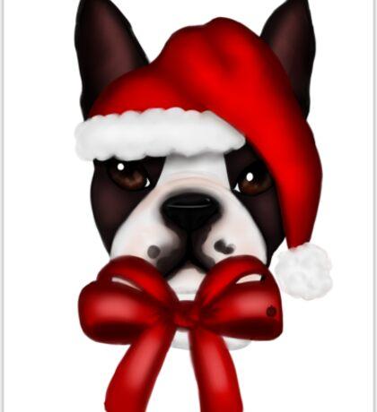 Boston Terrier Christmas Hat Sticker
