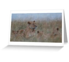 Lioness and Cubs Greeting Card