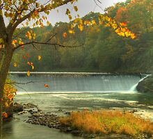 Pownal Tannery Falls in Fall by thewaterfallhunter
