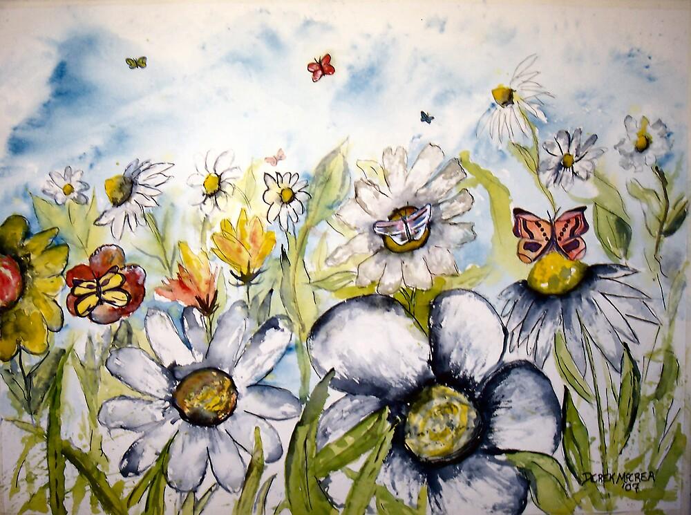 Butterfly flower fine modern art print by derekmccrea