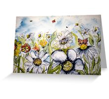 Butterfly flower fine modern art print Greeting Card