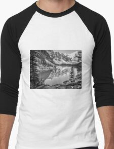 Moraine Lake Black & White Men's Baseball ¾ T-Shirt