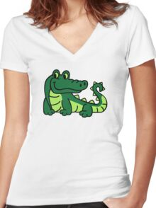 Comic crocodile Women's Fitted V-Neck T-Shirt
