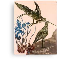 Curlews - lino cut print Canvas Print