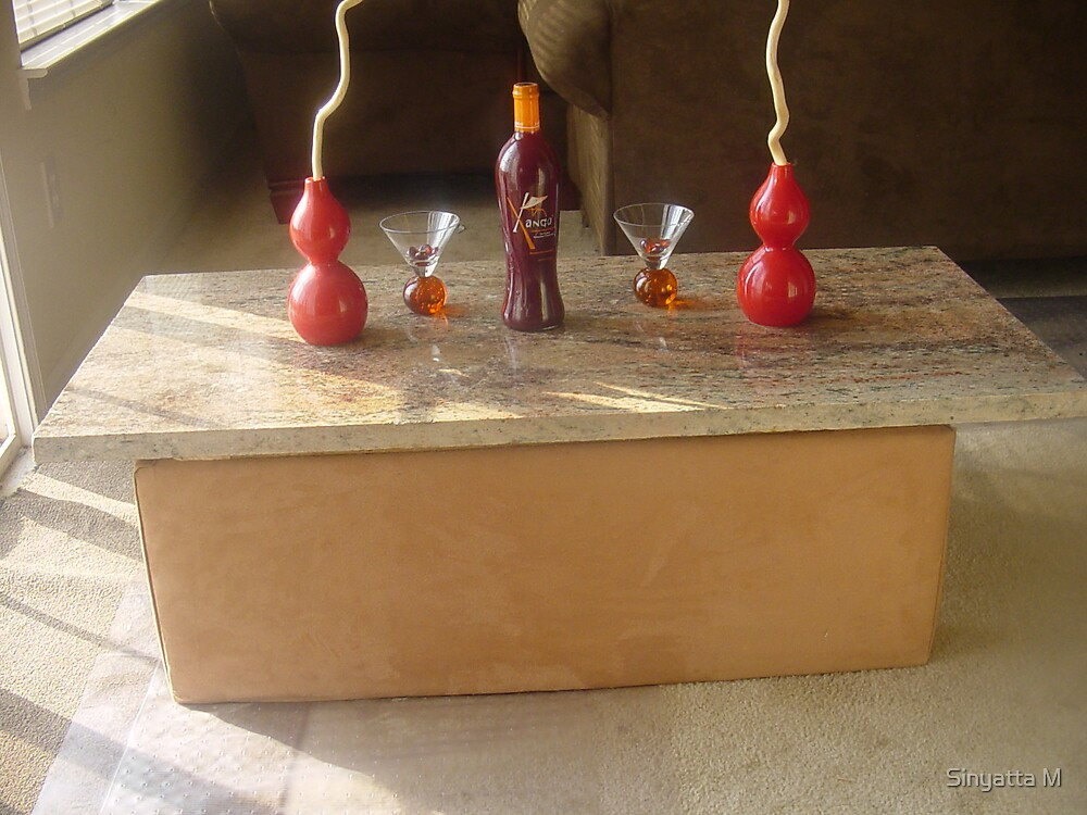 EXOTIC 100% CUSTOM GRANITE AND MILLENIUM BR SUADE COFFEE TABLE by Sinyatta M
