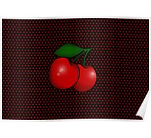 Polka dots and Pair of Cherries in Black Poster