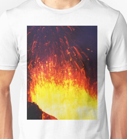 Eruption volcano - fountain, fireworks lava erupting from crater Unisex T-Shirt