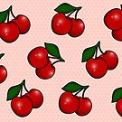 Polka dots and Cherry Pattern in Candy Pink by Tee Brain Creative