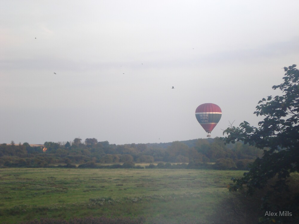 Hot air baloon over downs by Alex Mills