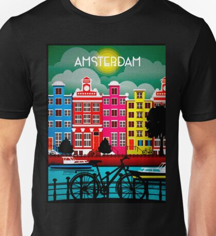 BICYCLE RIDING; In Amsterdam Holland Print Unisex T-Shirt