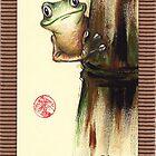 HOWDY NEIGHBOR - Original Painting Barred Leaf Treefrog by Rebecca Rees