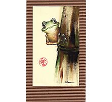 HOWDY NEIGHBOR - Original Painting Barred Leaf Treefrog Photographic Print