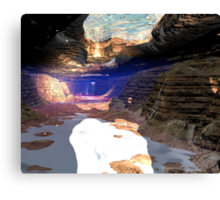 Underwater cave sunlight shines Canvas Print
