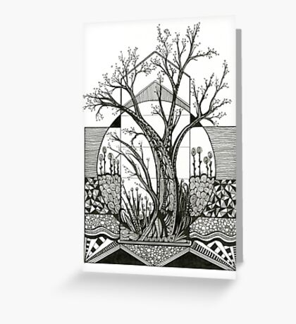 Spring Cherry Blossom, Ink Tree Drawing Greeting Card