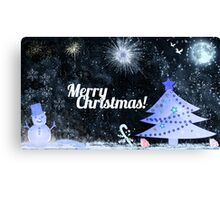Marry Christmas, outdoor at night Canvas Print