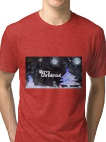 Marry Christmas, outdoor at night Tri-blend T-Shirt