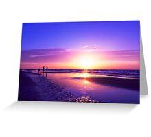 beautiful night on the beach Greeting Card