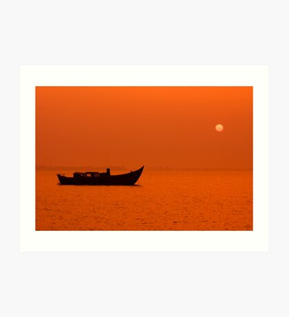 peaceful scenic sunset with silhouette of a boat Art Print